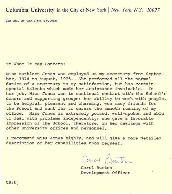 Letter from Carol Burton