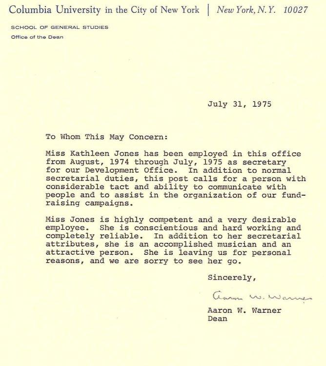 Letter from Dean Warner