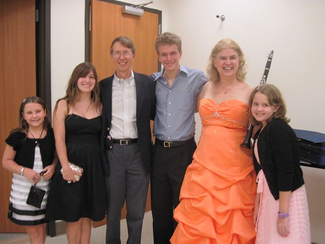 March 7, 2010, backstage after the Casals Festival concert with Luis Enrique Julia's Quintet for Clarinet and Strings. Family and friends: Christi Stubbe, Fabi Aguayo, Paul Cleary, Patrick Cleary, Kathy (Mom,) and Shannon Cleary.