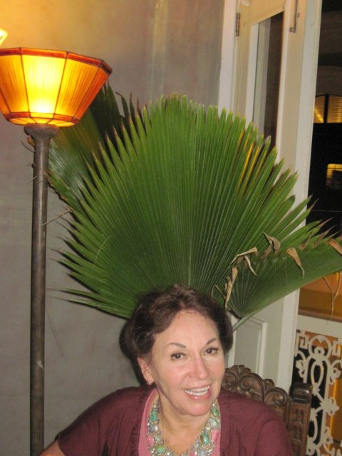 """The beautiful """"dueña"""" of the the Gallery Inn, and artist extraordinaire, Jan D'Esopo, relaxing after the open rehearsal, April 18, 2010."""