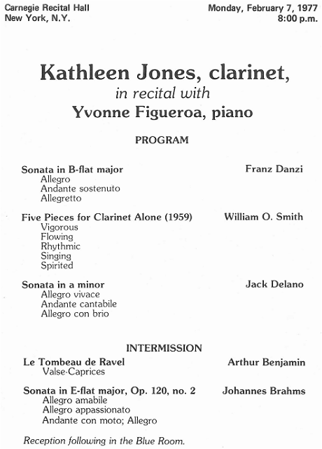 The program of the recital in the Carnegie Recital Hall in New York City, February 7, 1977